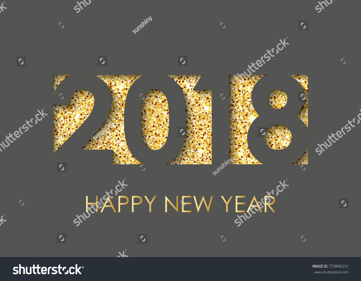 2018 happy new year text for greeting card calendar invitation black background with