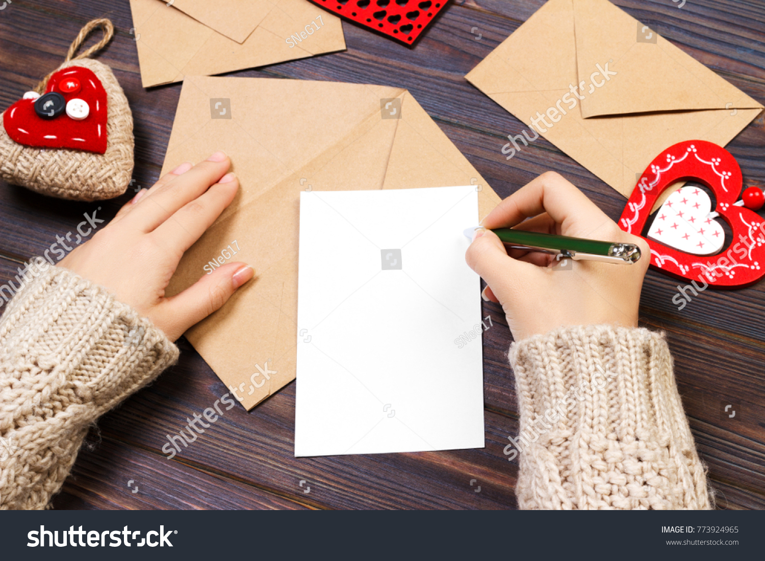 Woman Writing Love Letter Romantic Poem Stock Photo (Royalty Free ...