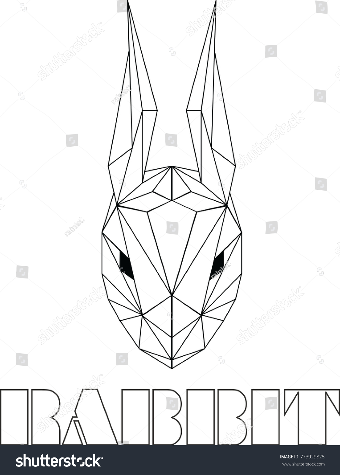 Rabbit Head Geometric Outline Vector Animal Origami In White Background