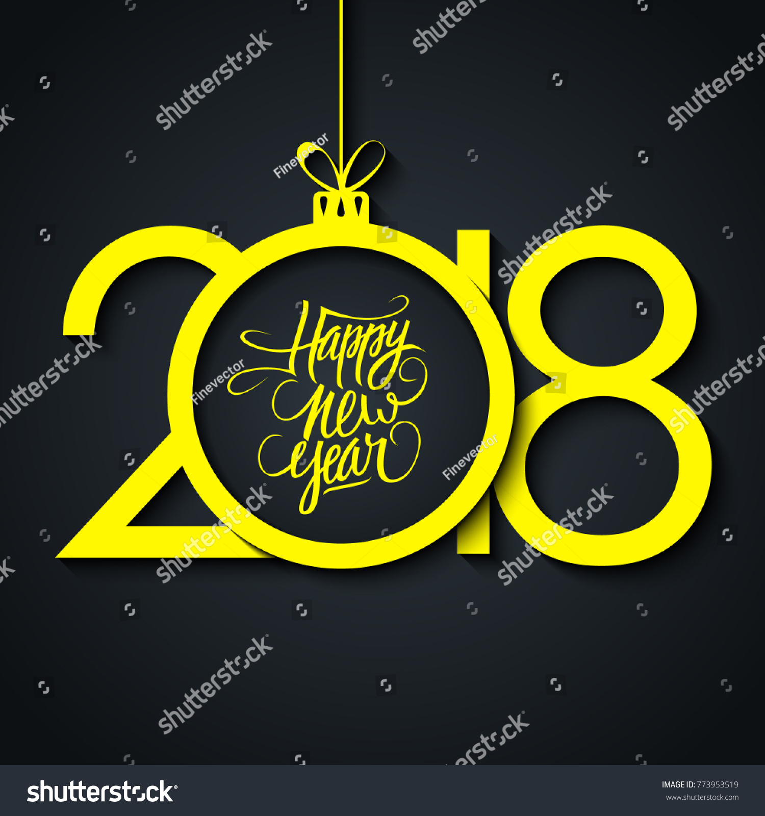 2018 happy new year greeting card stock vector royalty free 2018 happy new year greeting card with handwritten holiday greetings and yellow christmas ball on black m4hsunfo