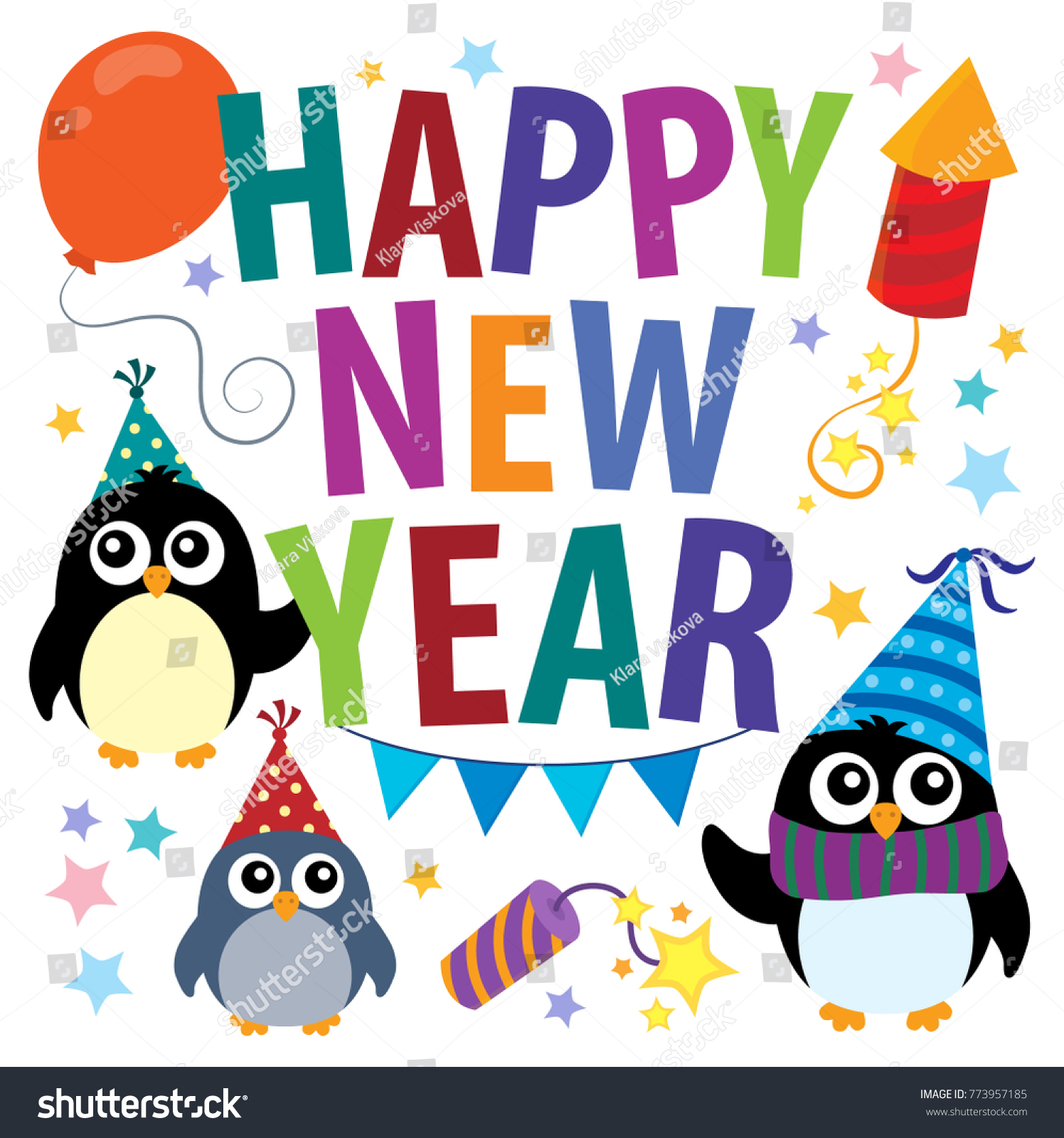 happy new year theme with penguins eps10 vector illustration