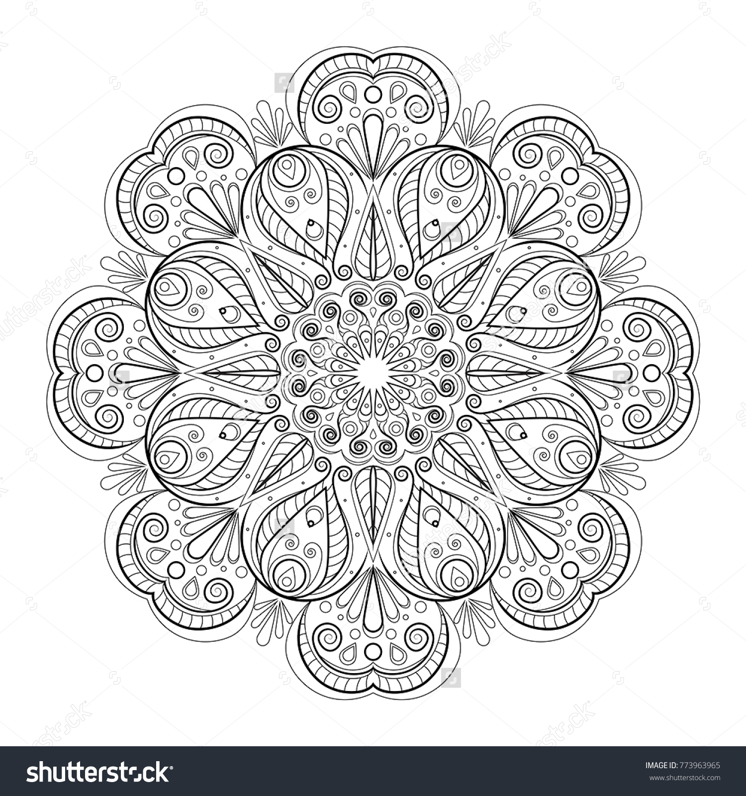 Vintage Decorative Ornament Oriental Pattern Anti Stress Therapy Flower Mandala Stock Vector 773963965