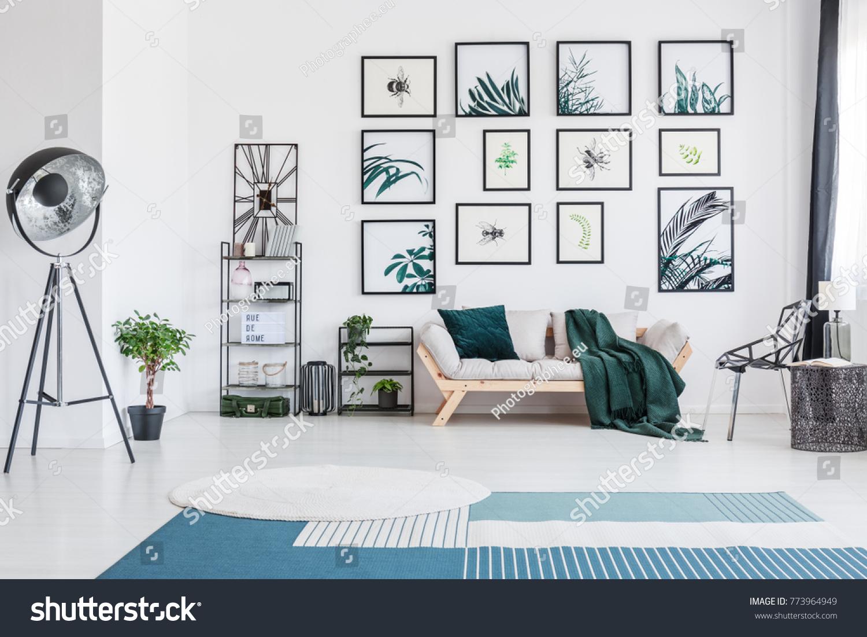 Blue Carpet Bright Living Room Metal Stock Photo (Royalty Free ...