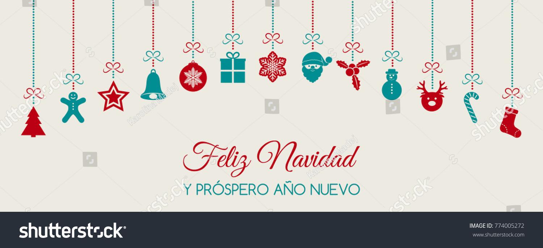 Feliz Navidad Merry Christmas Spanish Christmas Stock Vector ...