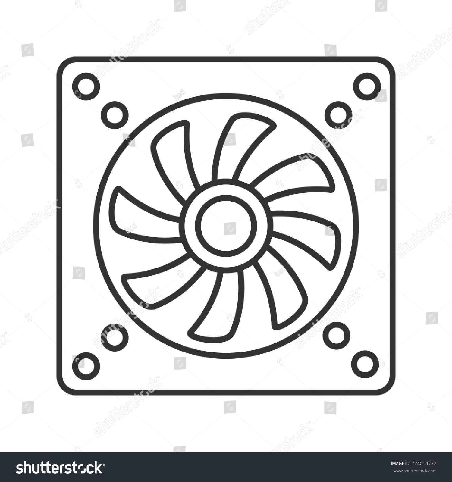 Exhaust Fan Linear Icon Conditioning Thin Stock Illustration