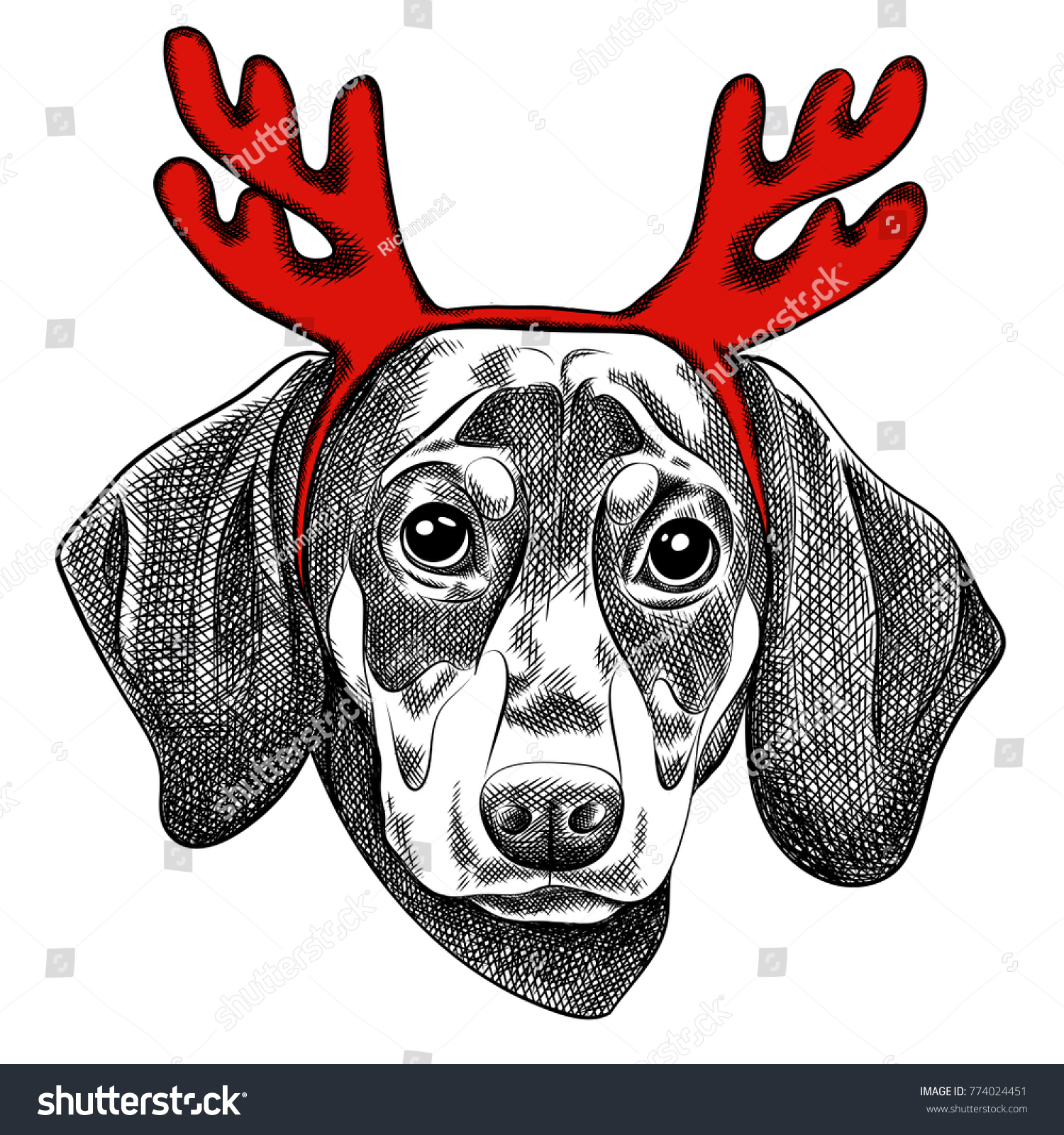 065d1e83659 Vector illustration of a Dachshund dog for a Christmas card. Dachshund with  red horns of reindeer. Merry Christmas in the year of the dog.