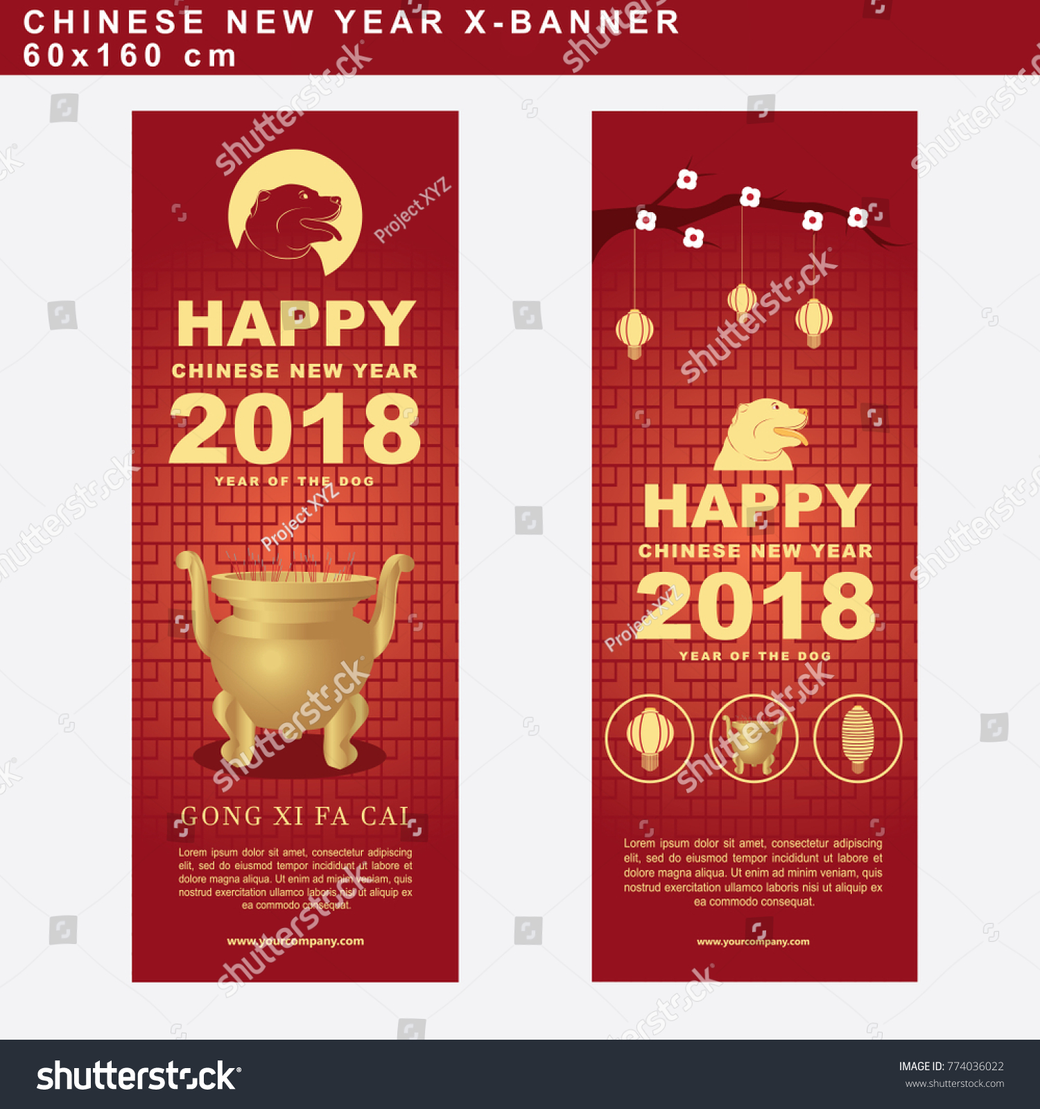 set of chinese new year banner with golden stick pot ornament vector illustration