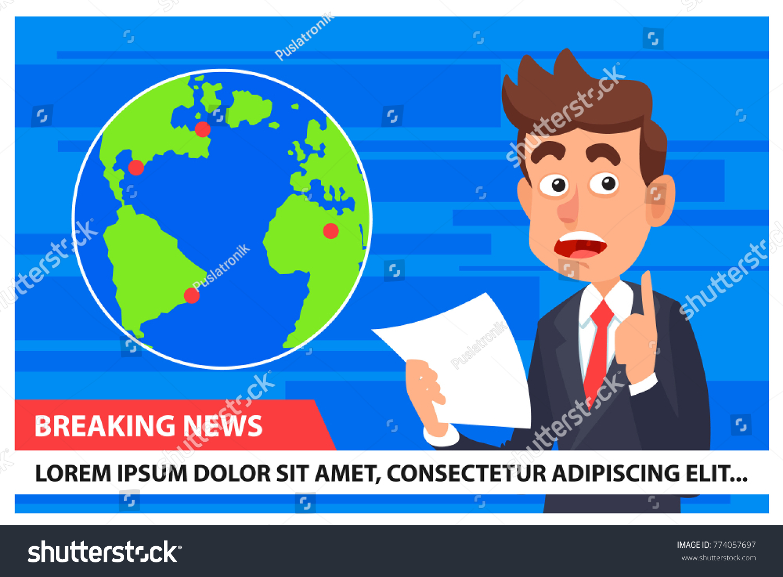Breaking News Anchor TV Earth Map Stock Vector 774057697 - Shutterstock