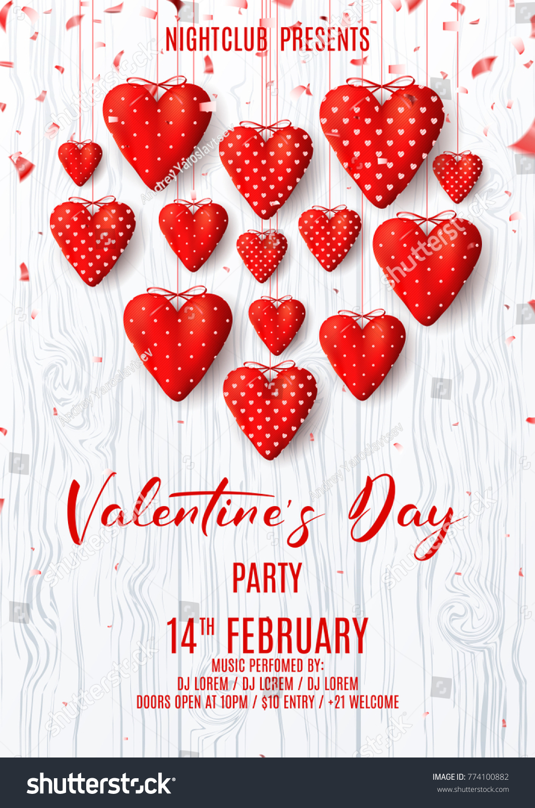 Happy Valentines Day Party Poster Beautiful Stock Vector Royalty