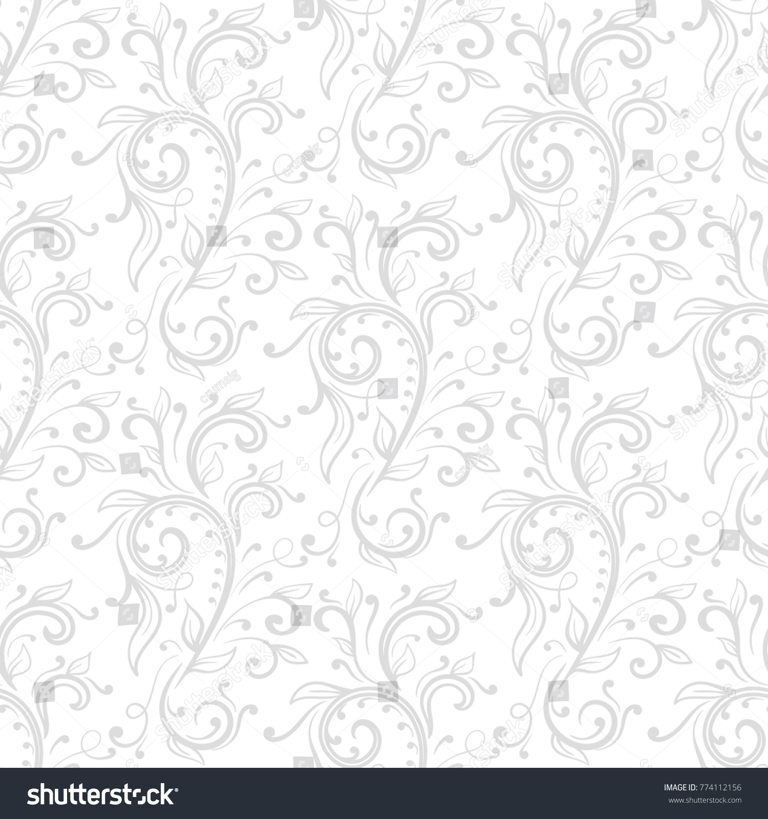 Floral Ornaments Gray White Seamless Pattern Stock Vector Royalty