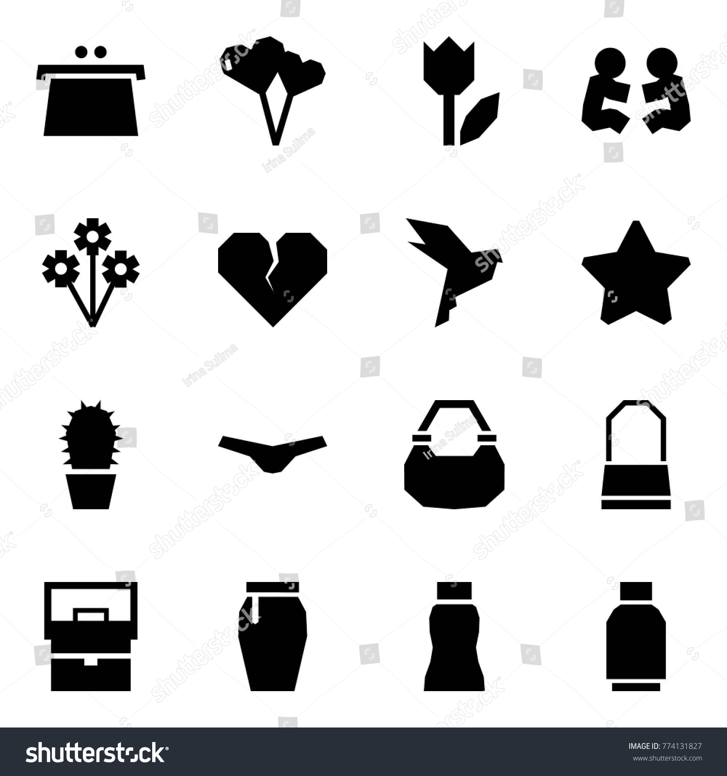 Origami Style Icon Set Purse Vector Stock Vector Royalty Free