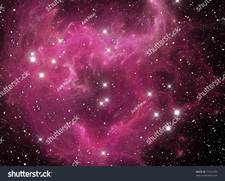 Pink Space Star Nebula Stock Photo 77413195 : Shutterstock