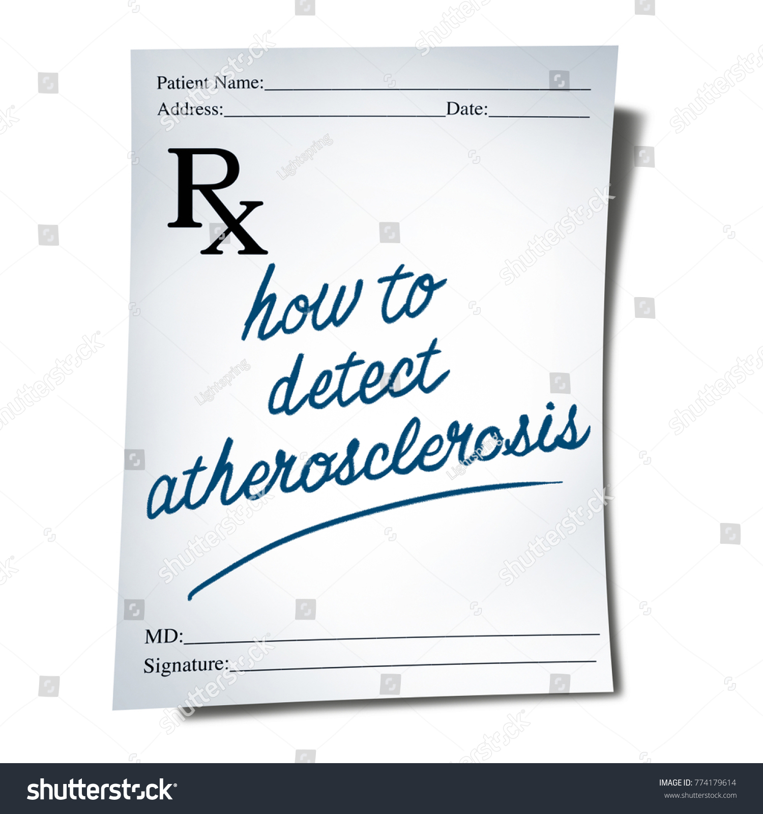 Atherosclerosis Diagnosis Doctor Prescription Note Text Stock