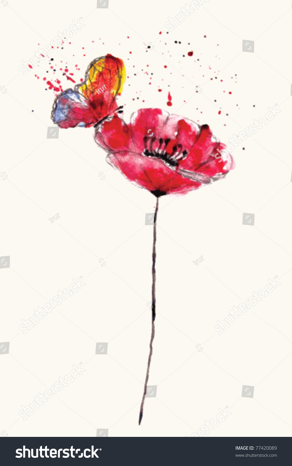 stylized painted watercolor poppy flower with bright