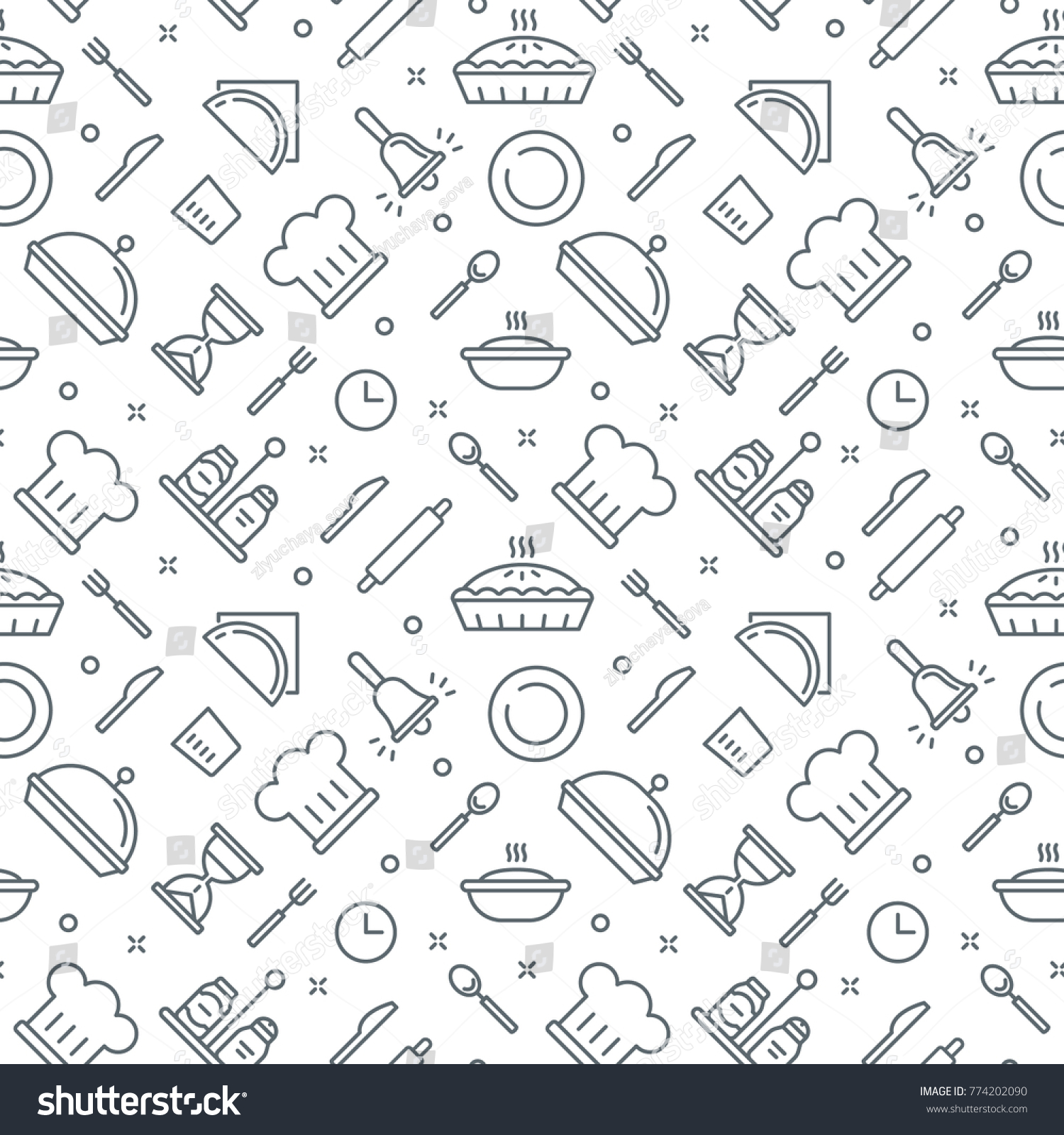 Kitchen Pattern Seamless Vector Texture Bakery Stock Vector HD ...