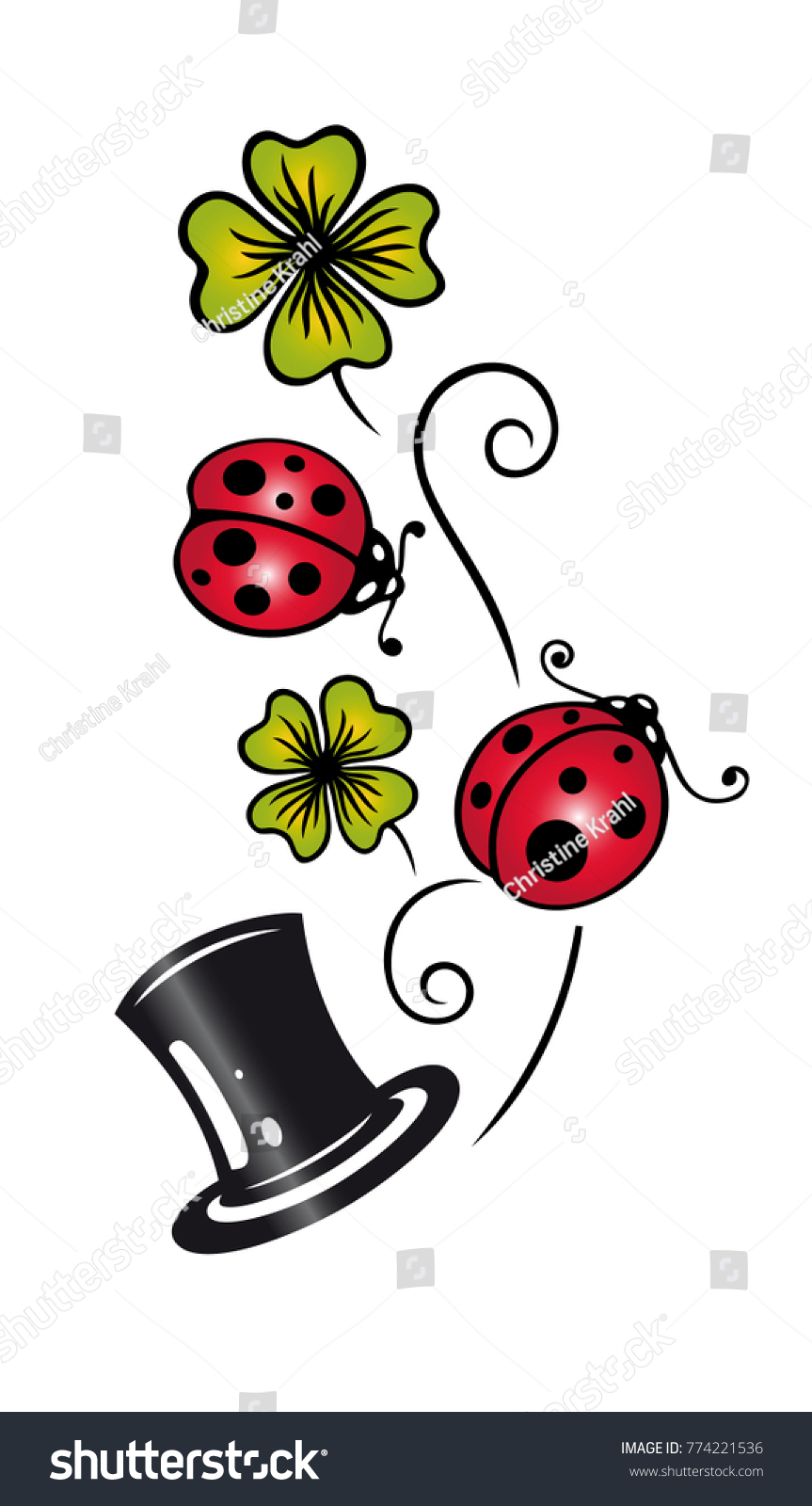 Clover ladybirds cylinder traditional german lucky stock vector clover with ladybirds and cylinder traditional german lucky charm symbols biocorpaavc Image collections