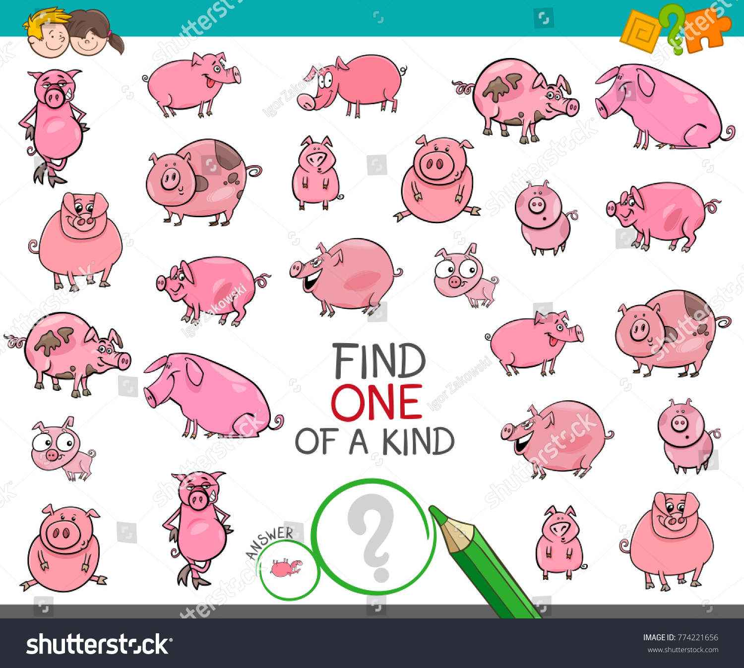 Cartoon Illustration Find One Kind Picture Stock Vector Royalty