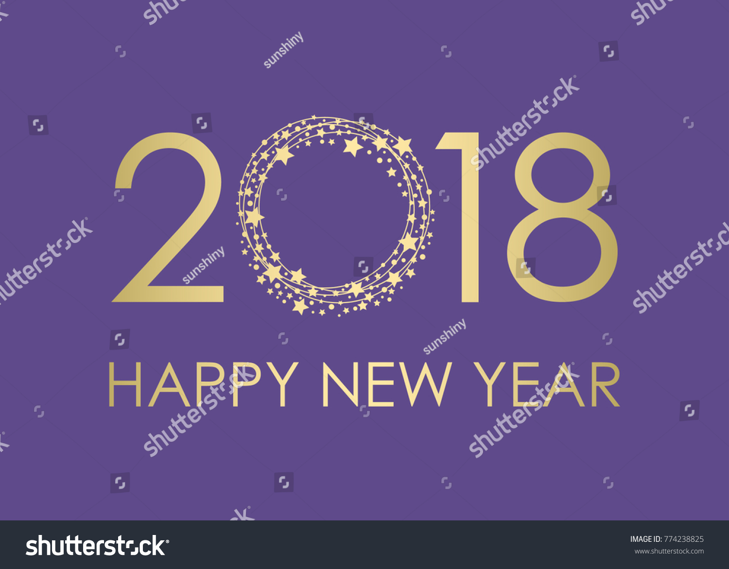 2018 happy new year gold text for card for your design vector illustration