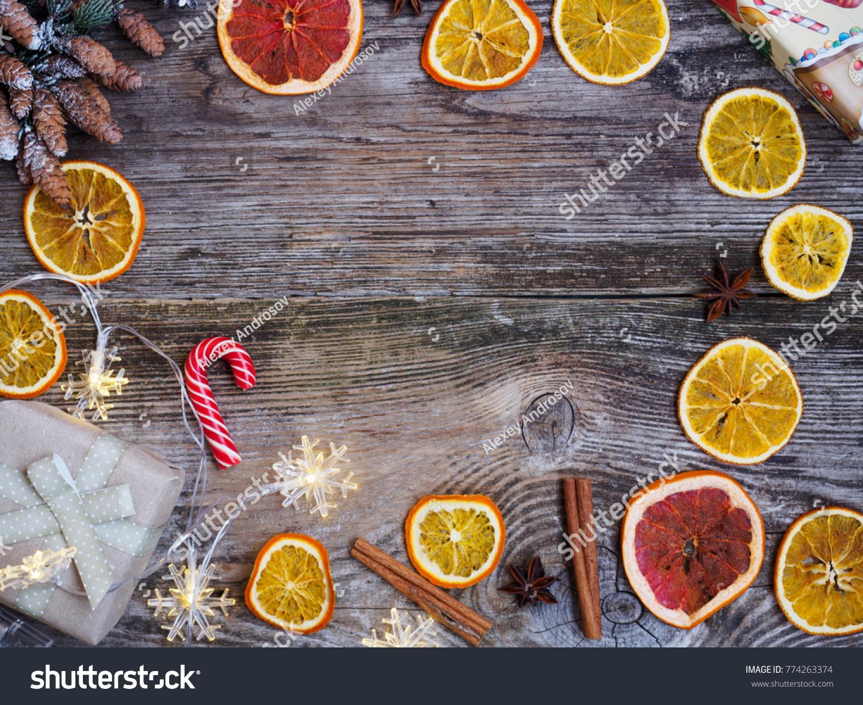 Christmas Still Life Dried Oranges Fir Stock Photo Edit Now