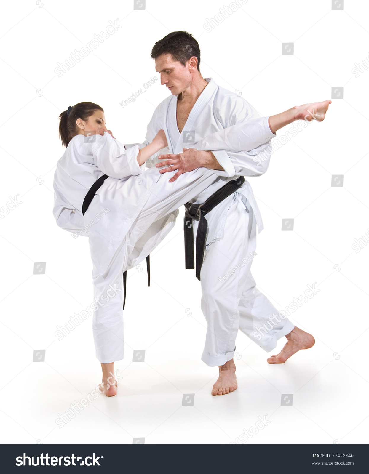 figure karate fighting stancehandtohand fighting woman training