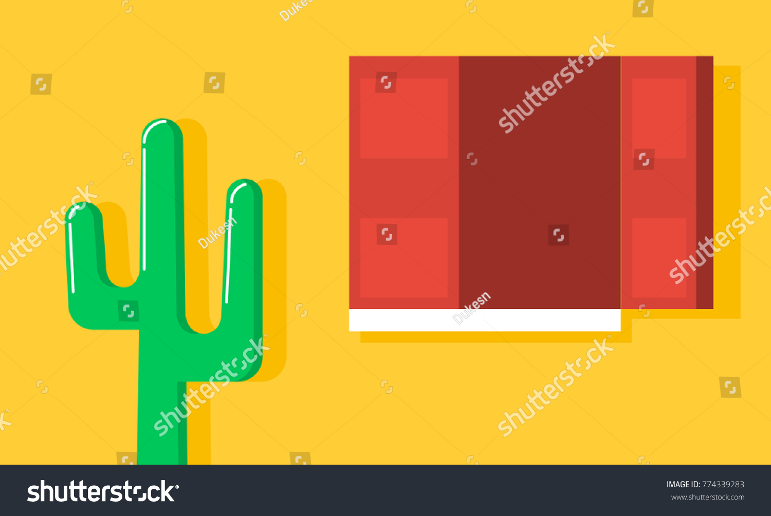 Cactus Yellow Wall Window Wooden Red Stock Vector 774339283 ...