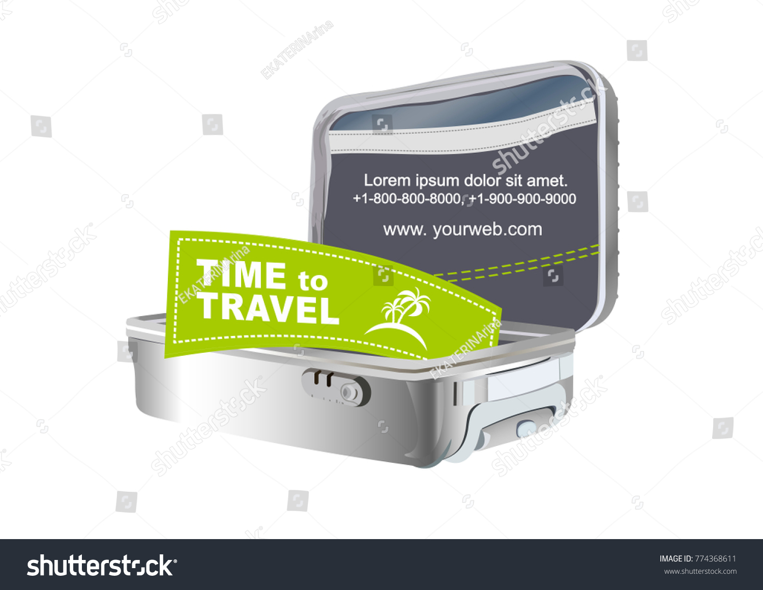 Suitcaselogo Travel On Sticker Poster Card Stock Vector 774368611 ...