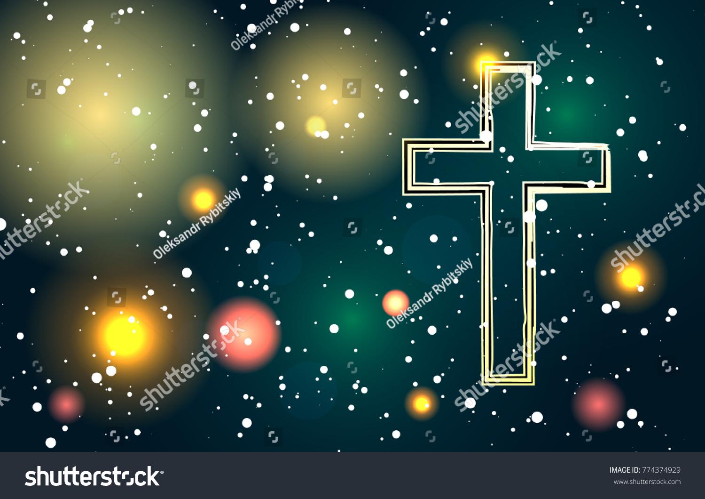 Christmas Background Christian.Vector Cross Light Ball Christmas Background Stock Vector