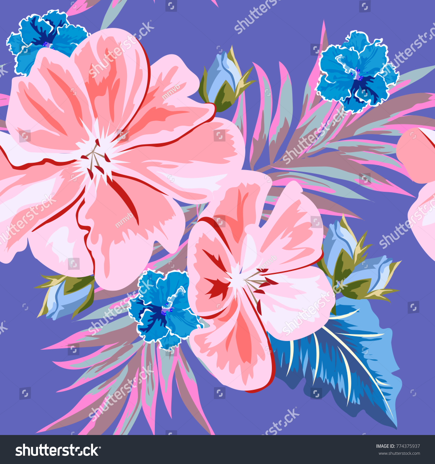 Seamless Background Beautiful Pink Blue Flowers Stock Vector
