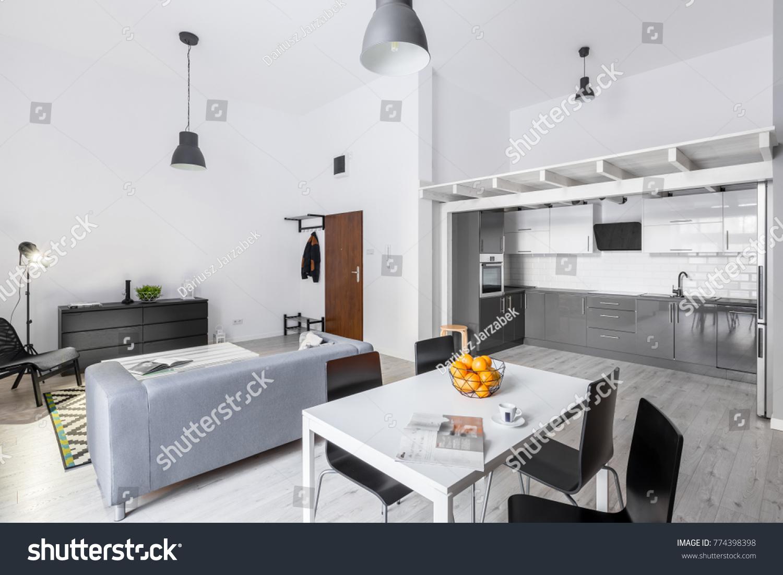 Open Space Loft Apartment Living Room Interiors Stock Image 774398398
