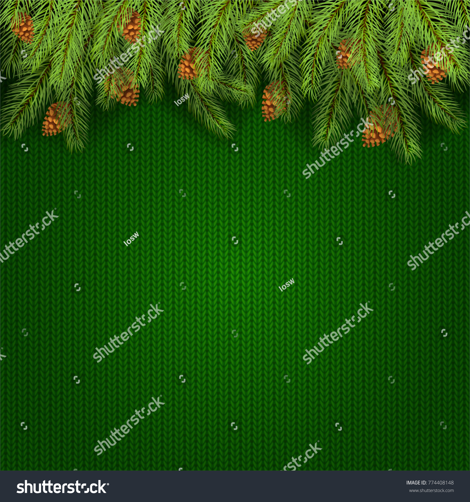 Christmas background spruce branches pine cones stock vector christmas background and spruce branches with pine cones holiday decorations on green knitted pattern bankloansurffo Images