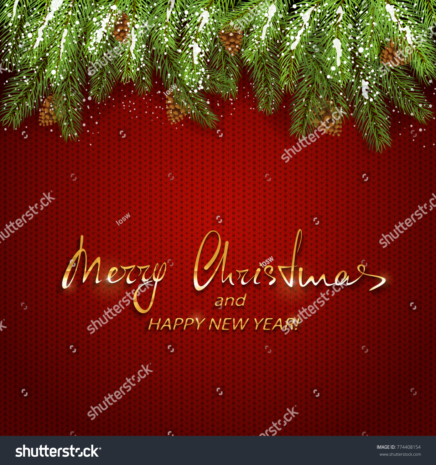 Christmas background spruce branches pine cones stock vector christmas background and spruce branches with pine cones and snow holiday decorations on red knitted bankloansurffo Images