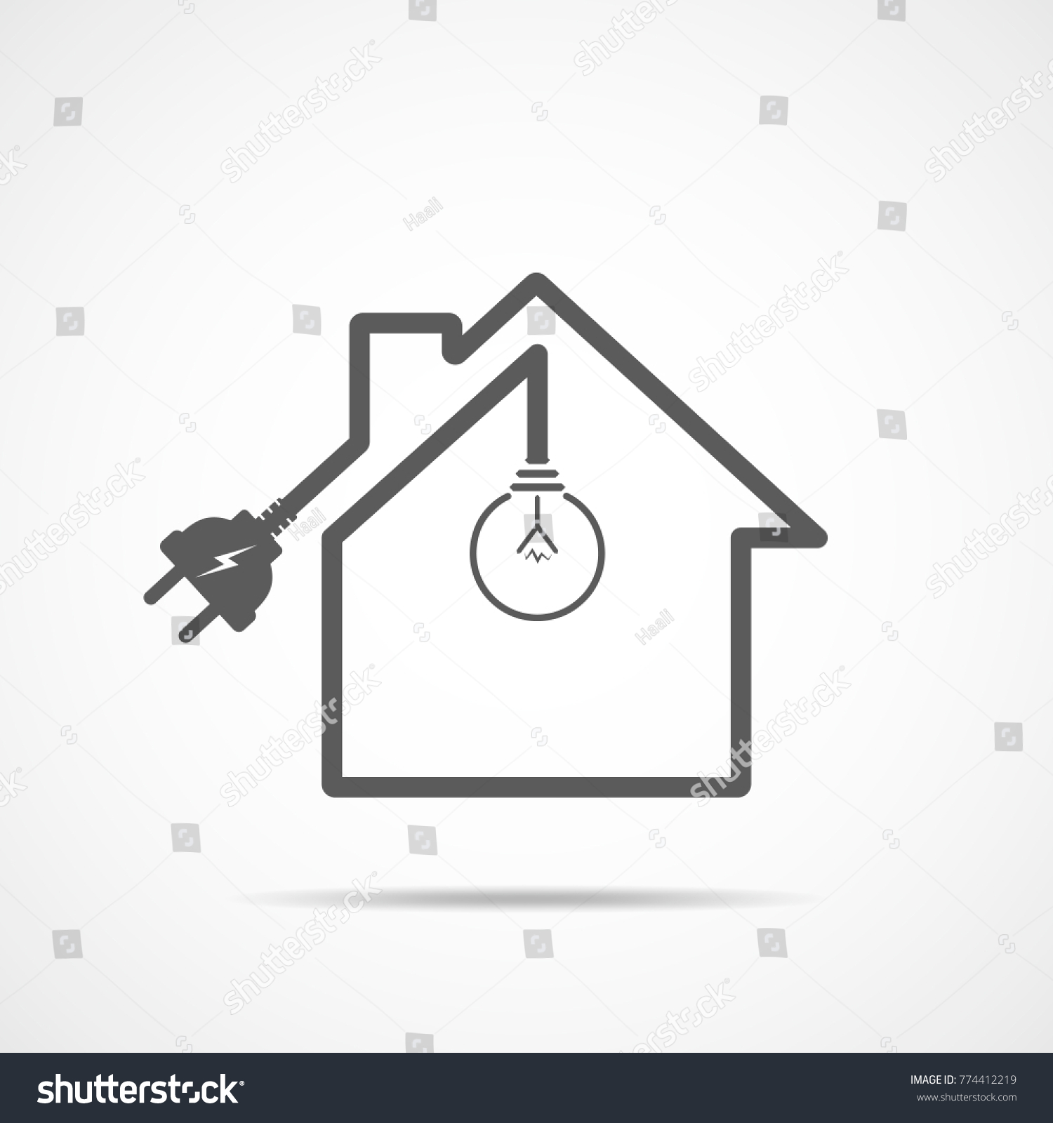 Outline House Light Bulb Wire Plug Stock Vector Royalty Free Wiring Diagram The Of With And Illustration Gray