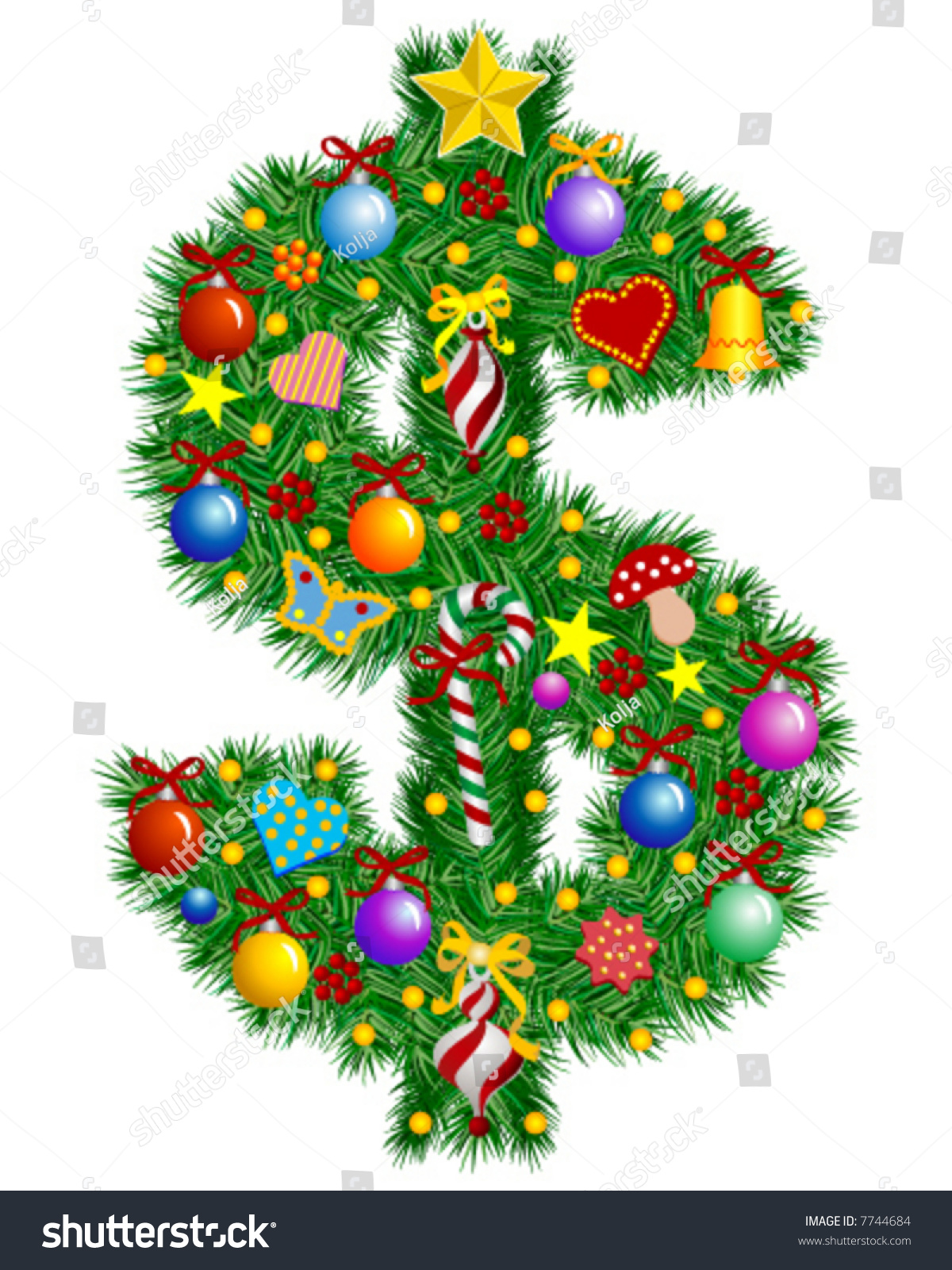 Christmas Tree Decoration Dollar Sign Part Stock Vector ...