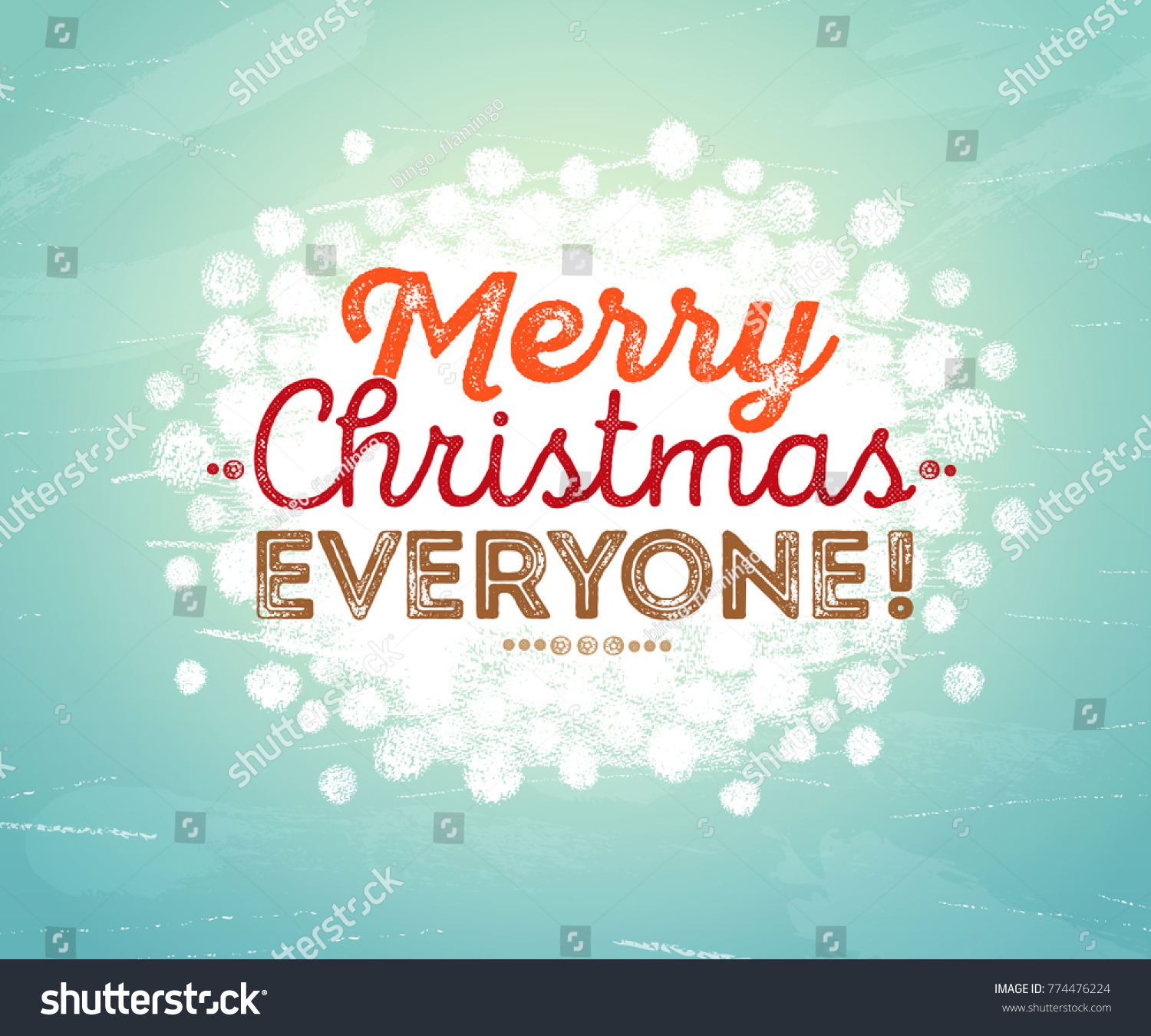 Merry Christmas Everyone Inscription Hand Painted Stock Vector ...