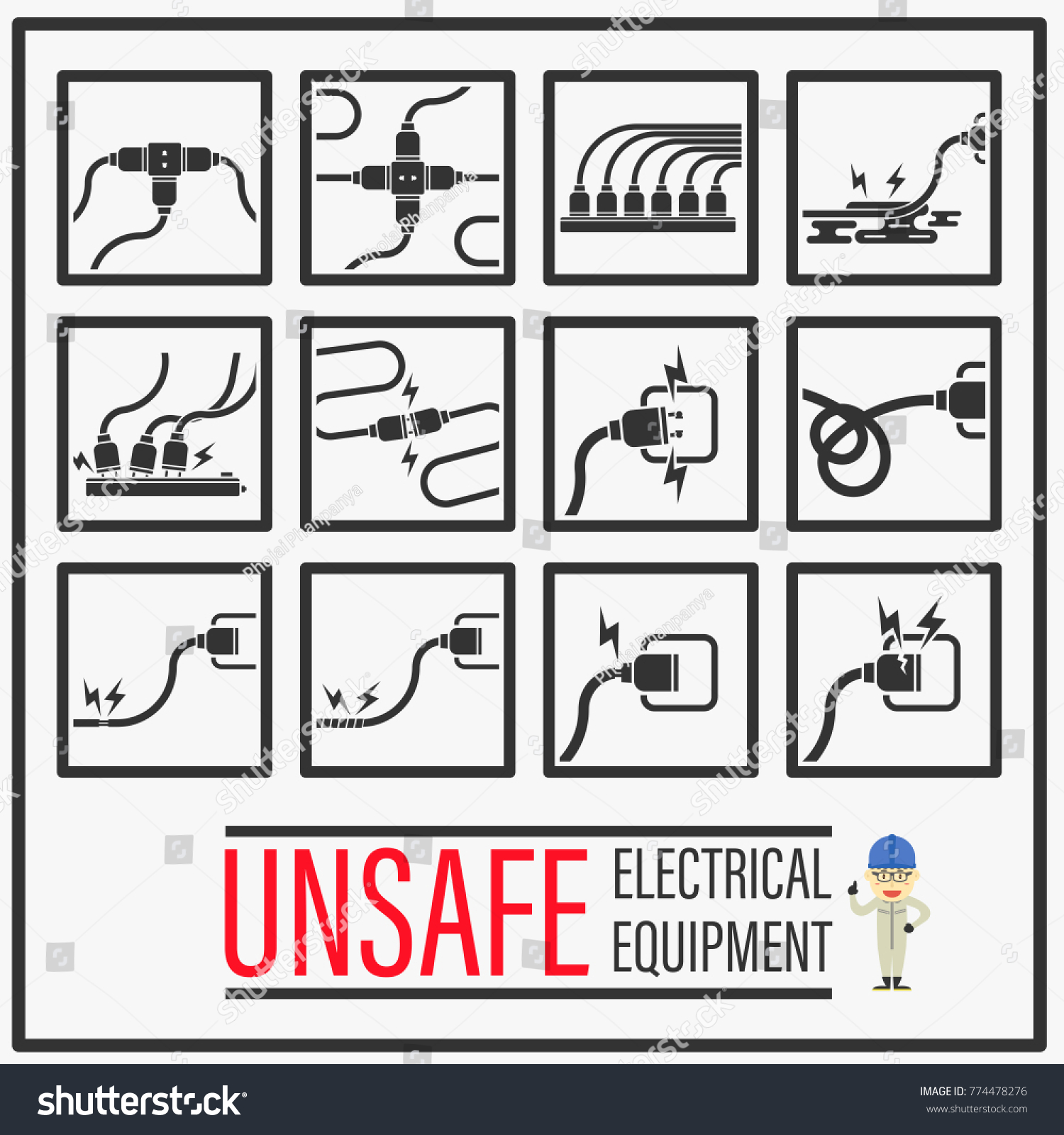 Set Signs Symbols Unsafe Electrical Equipments Stock Vector ...