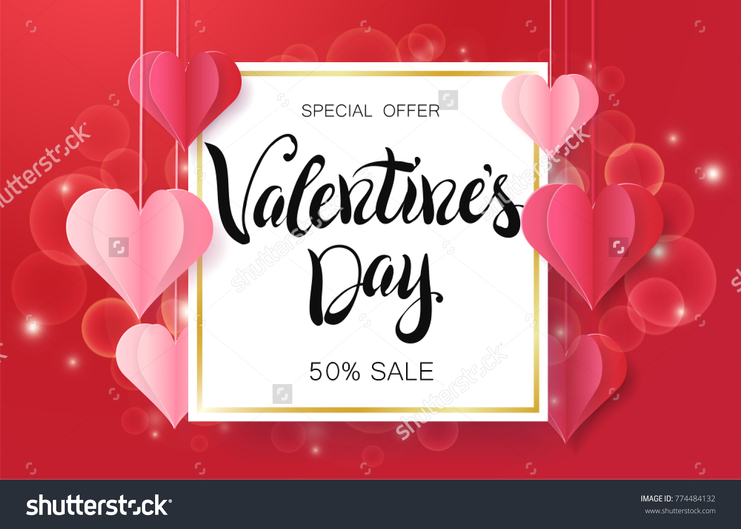 Happy valentines day design greeting card stock vector 774484132 happy valentines day design for greeting card can be used on banners or web kristyandbryce Choice Image
