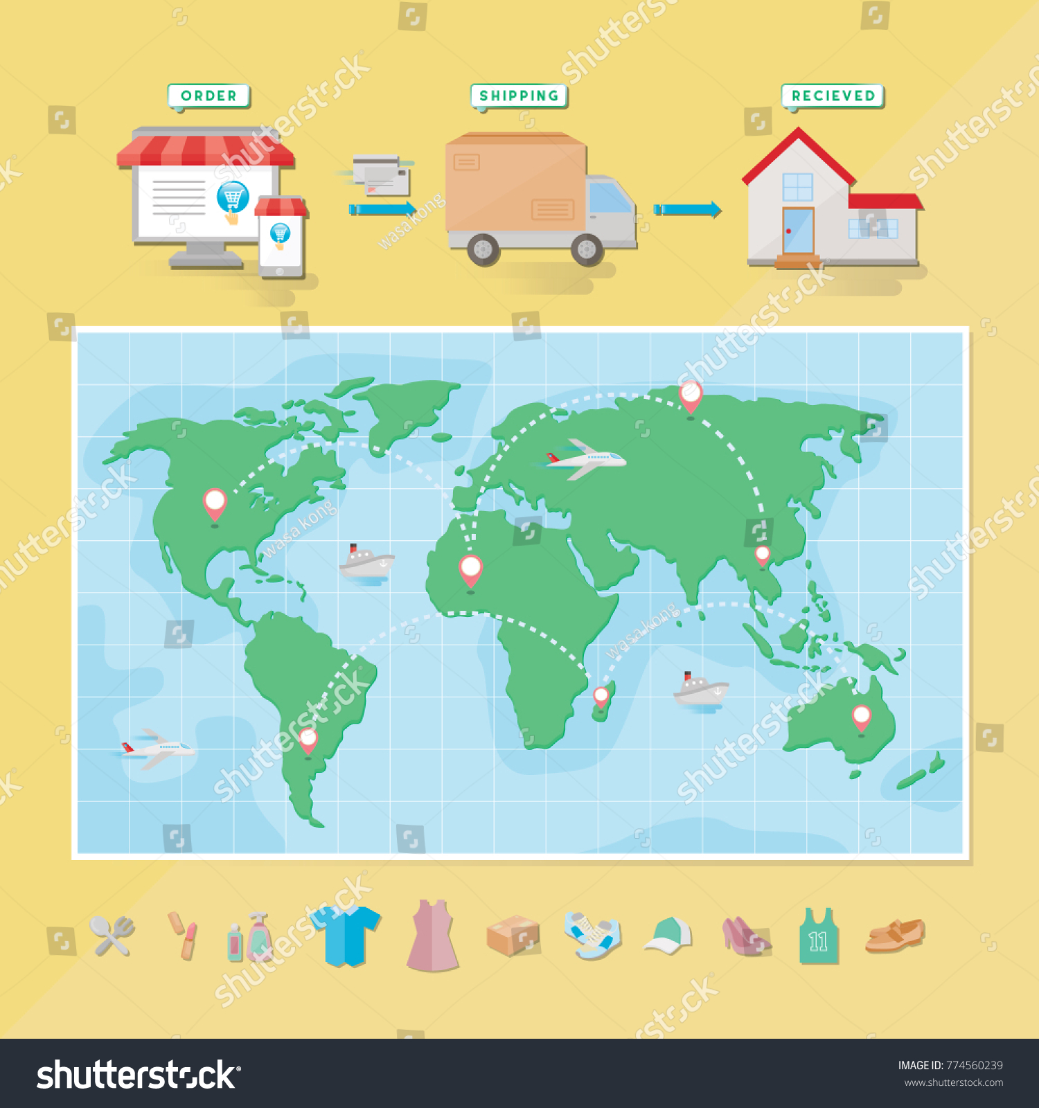 World map set icon online shopping vectores en stock 774560239 world map with set icon for online shopping icon set category gumiabroncs Gallery