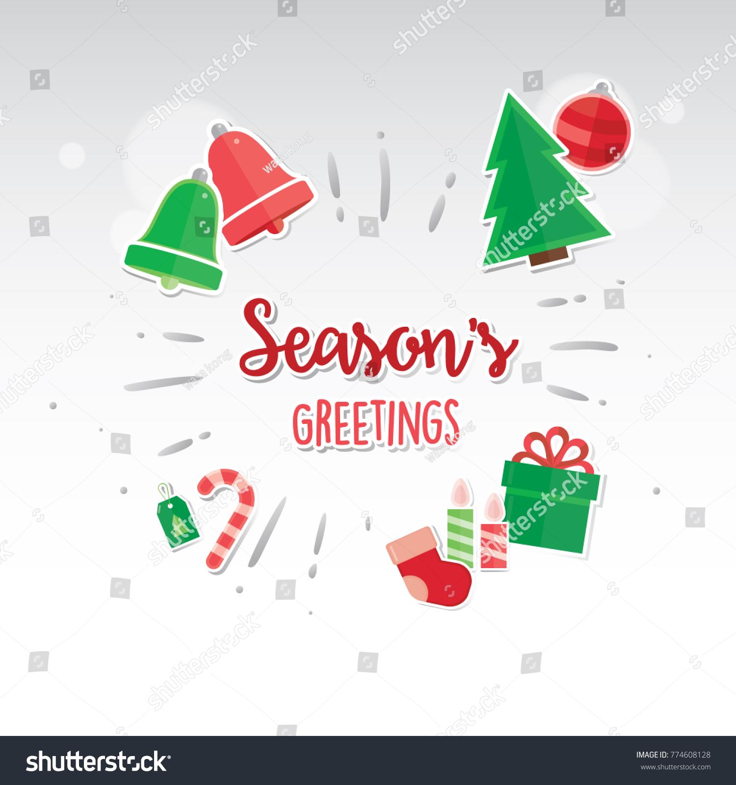 Merry Christmas Card Design Greeting Christmas Card Stock Vector