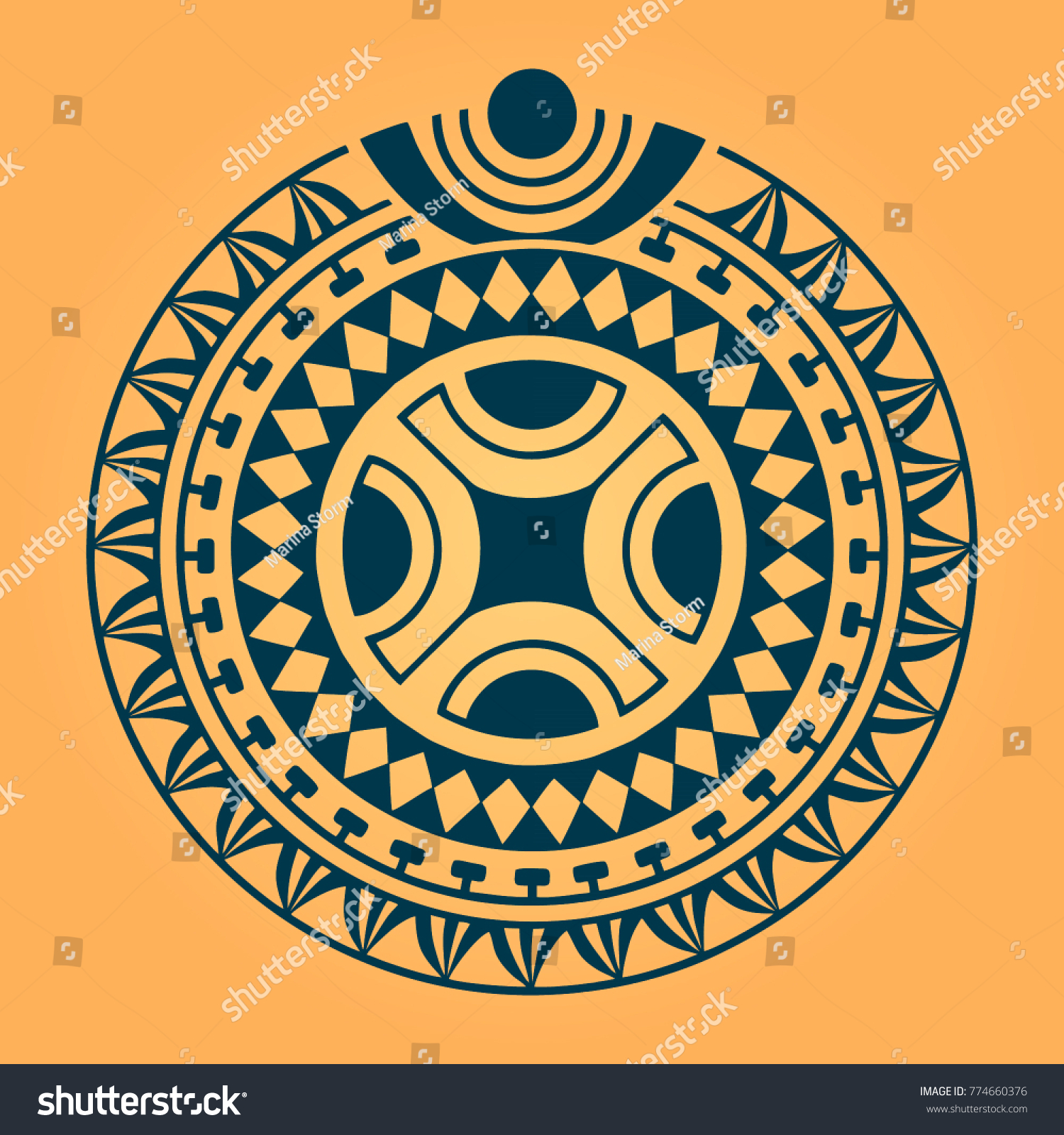 Round Sketch Polynesian Maori Style Tattoo Stock Vector (Royalty ...