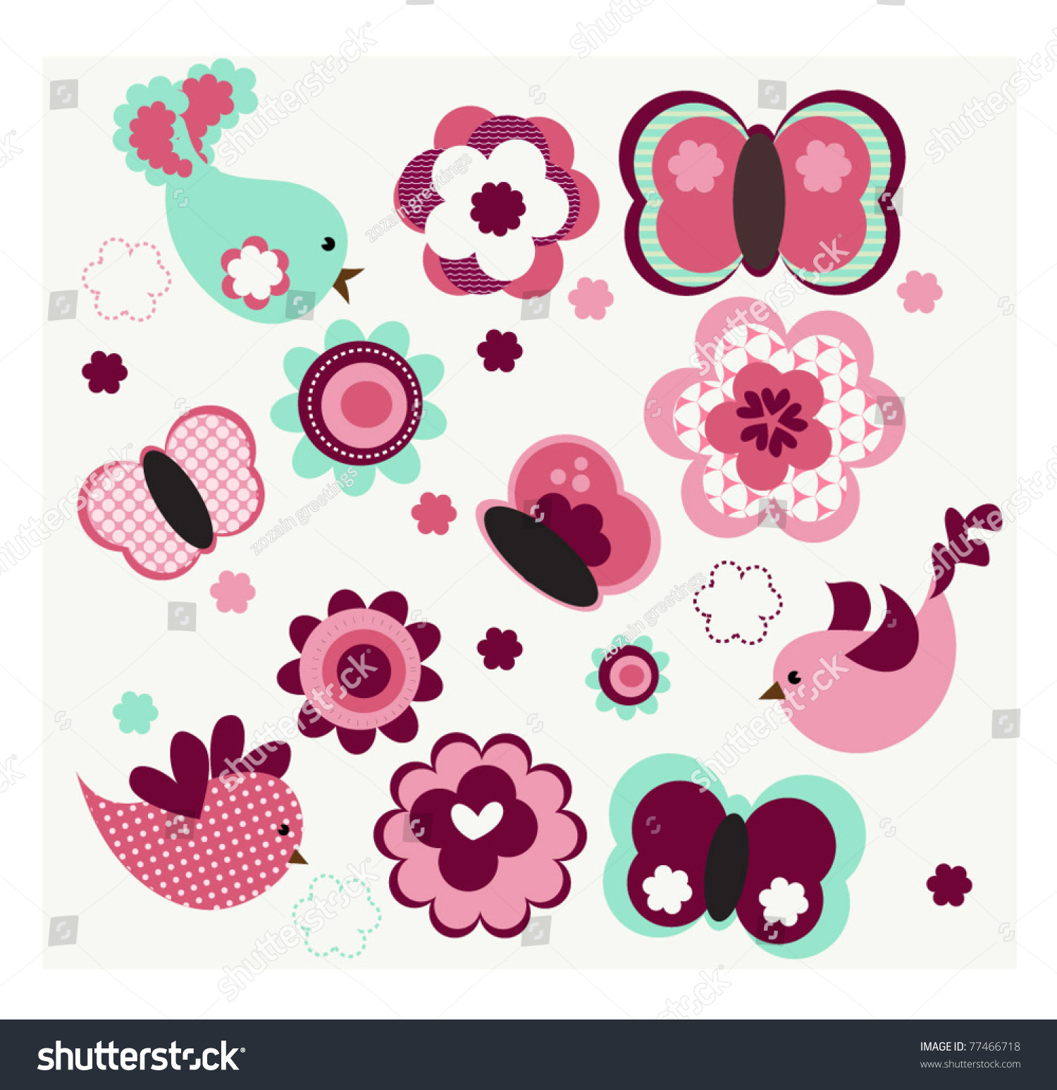 cute flowers amp flying butterflies vector eps 10 77466718