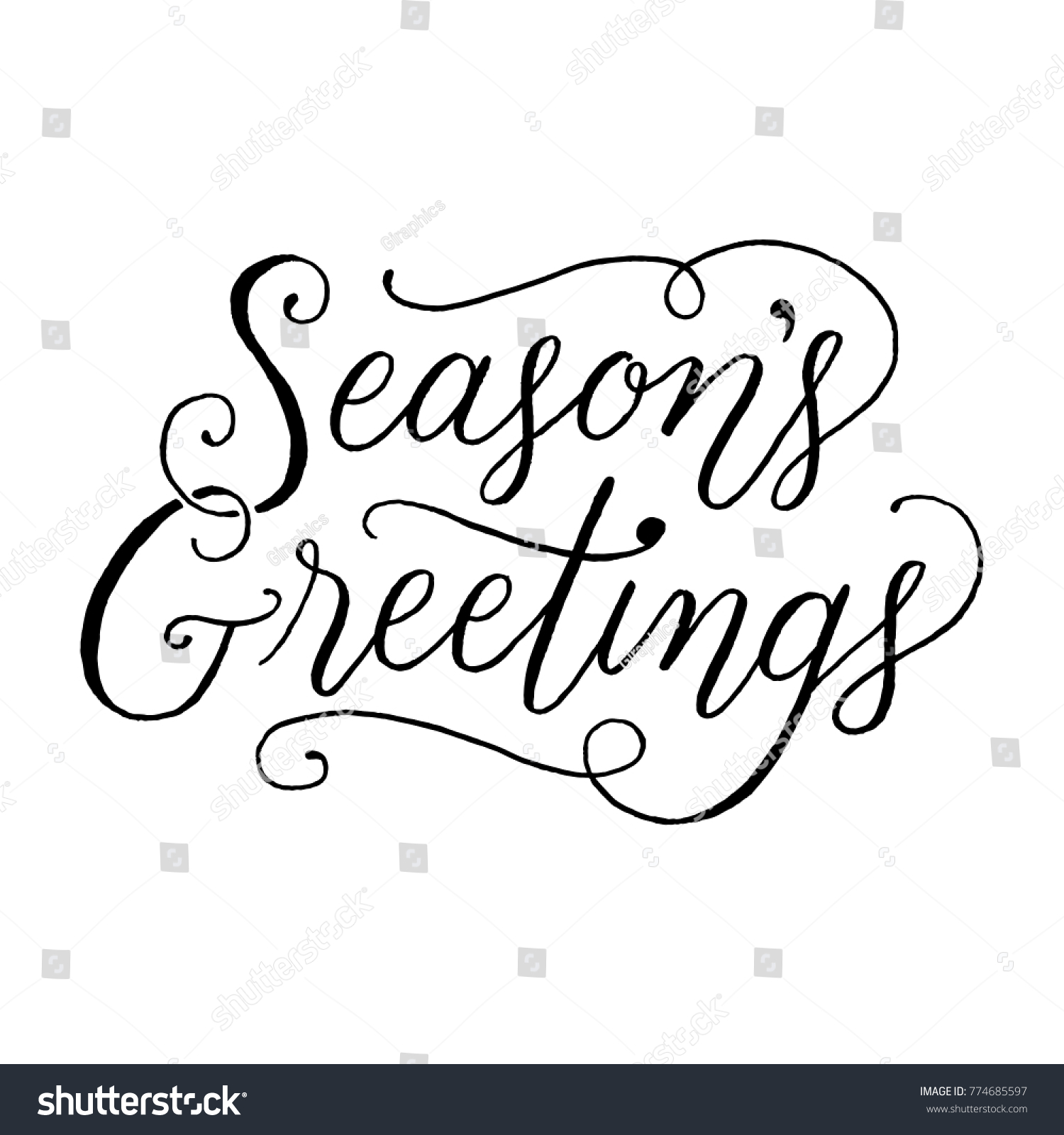 Seasons greetings handlettered holiday message isolated stock vector seasons greetings hand lettered holiday message isolated on a white background m4hsunfo