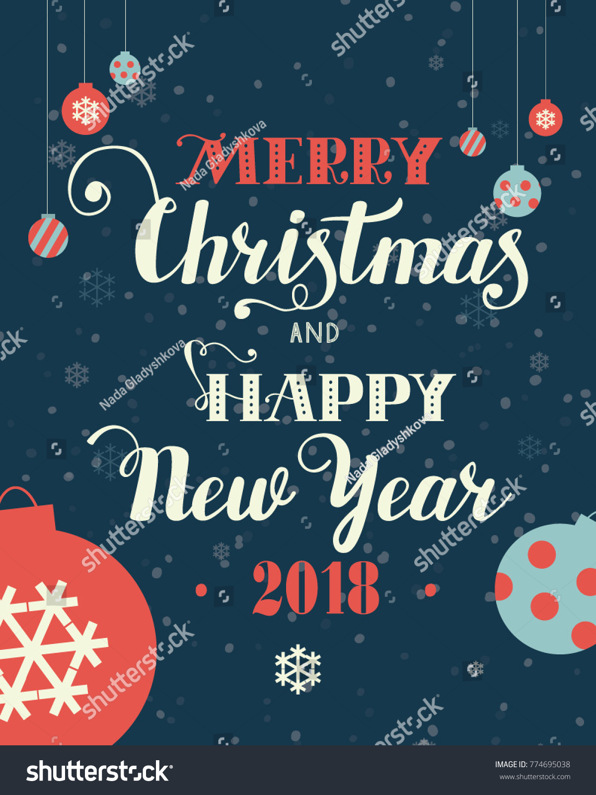 christmas gift card lettering hand written text merry christmas and happy new year