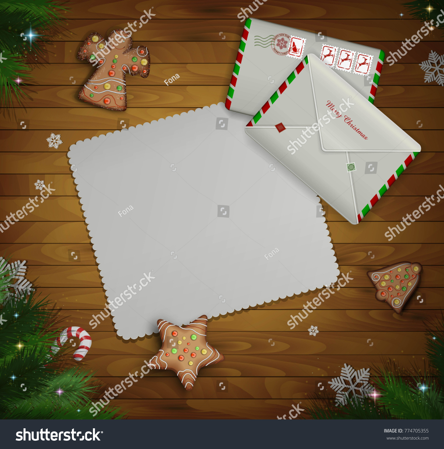 Paper Christmas Invitation Two Mail Envelopes Stock Vector 774705355 ...