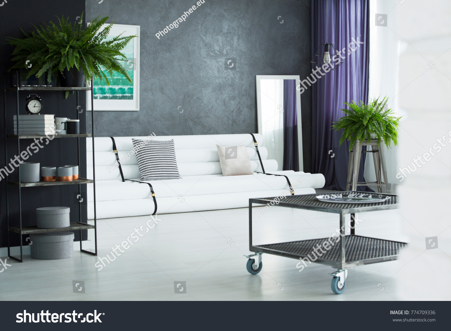 Industrial Table Designer Living Room Plants Stock Photo (Royalty ...