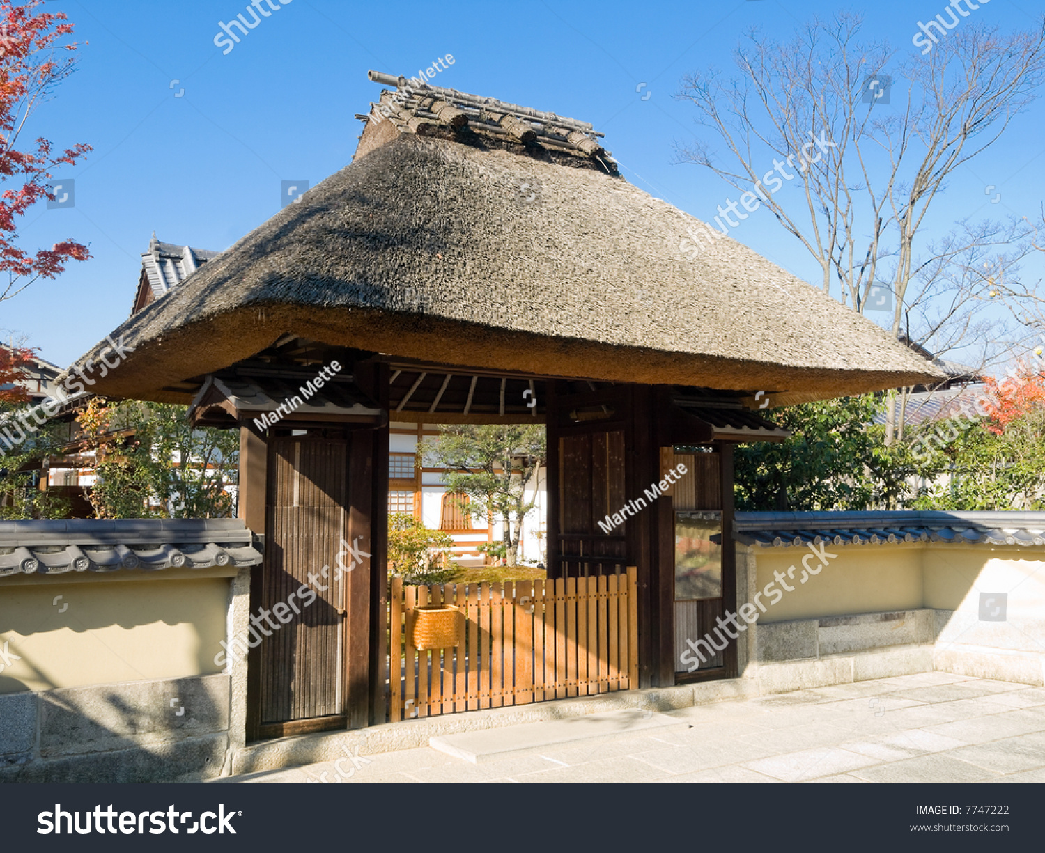 Traditional Kyoto Entrance Gate Thatched Roof Stock Photo
