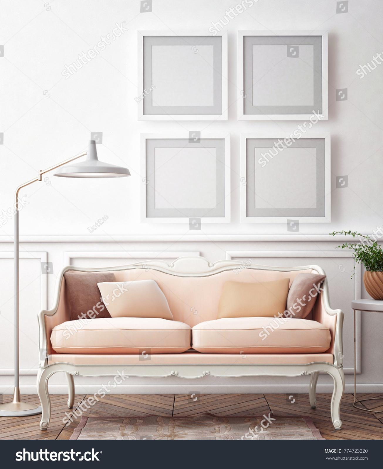 Living Room Interior Wall Mock Velvet Stock Illustration 774723220 ...
