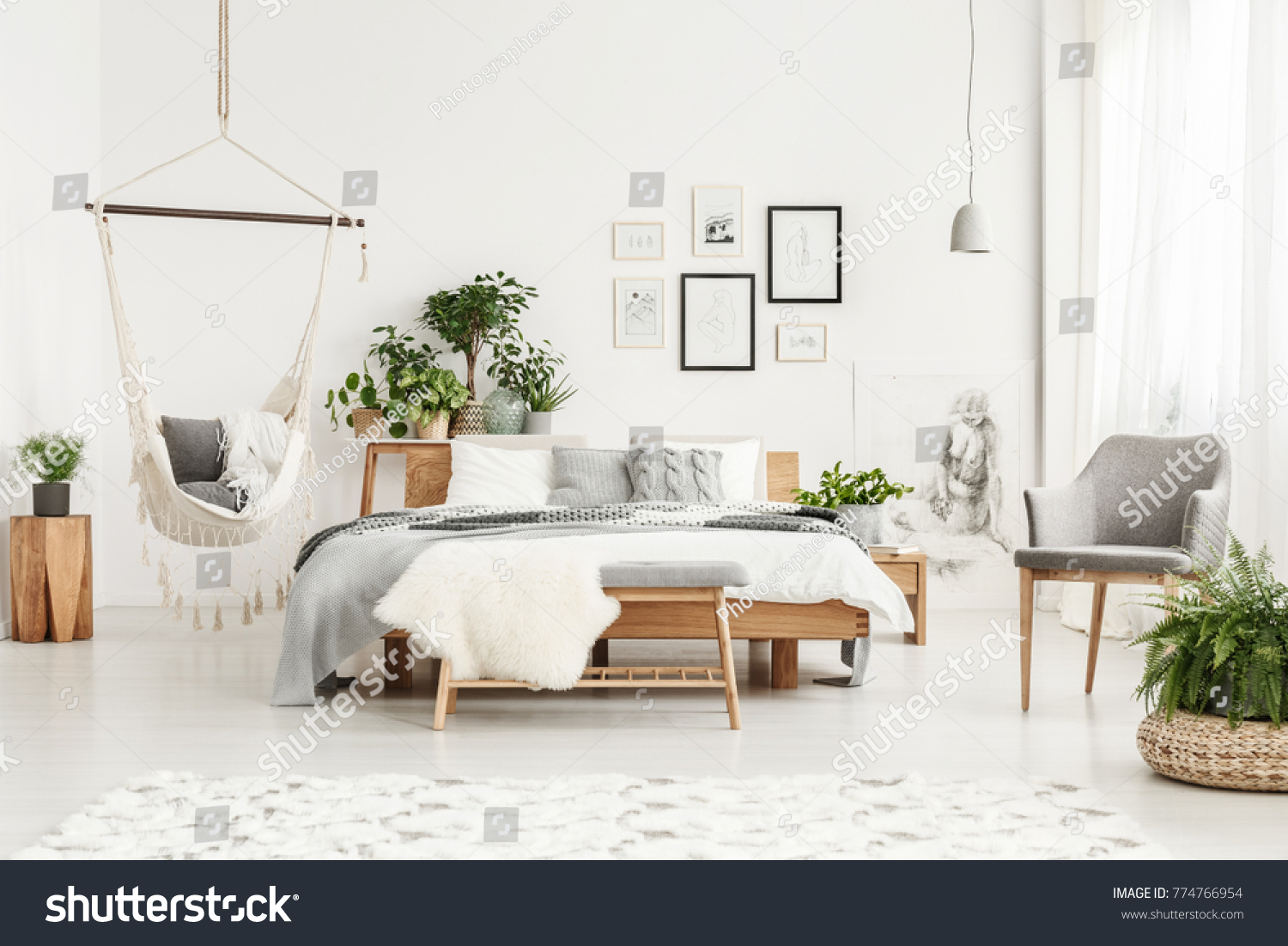 White Fur On Bench Grey Chair Stock Photo & Image (Royalty-Free ...