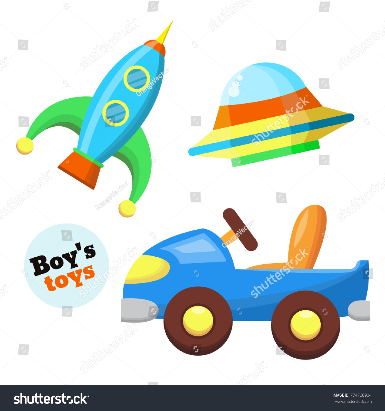 Boys Baby Toys Set Flat Style Stock Vector Shutterstock