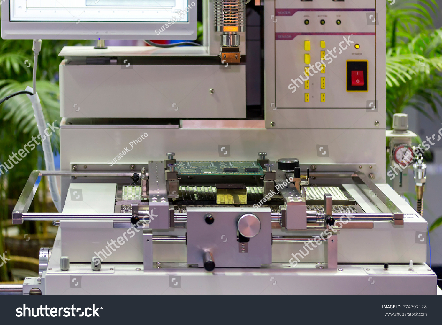 Close Print Circuit Board Pcb On Stock Photo Edit Now 774797128 Stockfoto Printed Used In Industrial Electronic Up Table Jig Of Ic Placer Automatic Pick