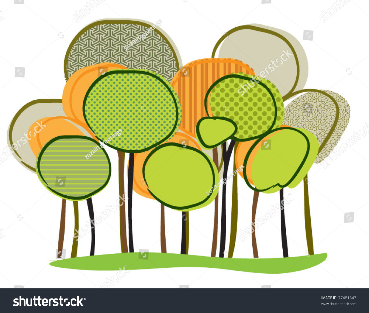 Set Abstract Trees Stock Vector 77481343 - Shutterstock